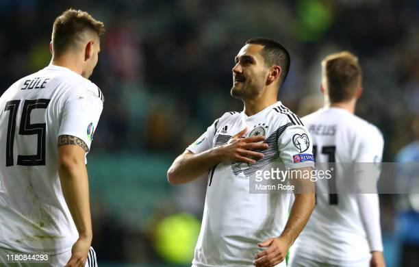 Ilkay Gündogan of Germany celebrates scoring the opening goal during the UEFA Euro 2020 qualifier between Estonia and Germany on October 13, 2019 in...
