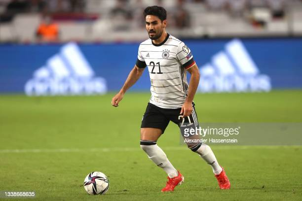 Ilkay Gündogan of Germany runs with the ball during the 2022 FIFA World Cup Qualifier match between Germany and Armenia at Mercedes-Benz Arena on...