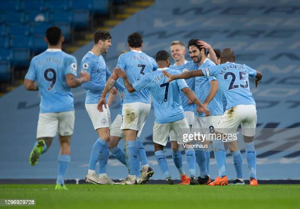 Ilkay Gündogan of Manchester City celebrates with team mates after scoring during the Premier League match between Manchester City and Crystal Palace...