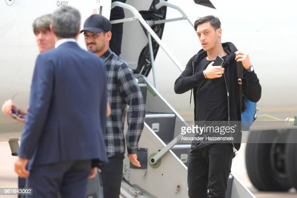 Ilkay Guendogan and Mesut Oezil arrives with the German National team at Bolzano Airport for the Southern Tyrol Training Camp ahead of the FIFA World...