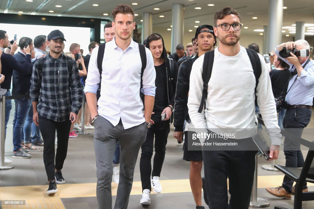 Ilkay Guendogan, Julian Draxler, Leon Goretzka, Mesut Oezil, Leroy Sane and Jonas Hector arrive with the German National team at Bolzano Airport for the Southern Tyrol Training Camp ahead of the FIFA World Cup Russia 2018 on May 23, 2018 in Bolzano, Italy.