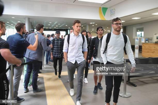 Ilkay Guendogan Leon Goretzka Mesut Oezil Leroy Sane and Jonas Hector arrive with the German National team at Bolzano Airport for the Southern Tyrol...