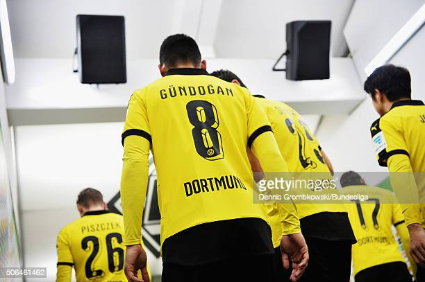Ilkay Guendogan of Borussia Dortmund enters the pitch for the Bundesliga match between Borussia Moenchengladbach and Borussia Dortmund at...