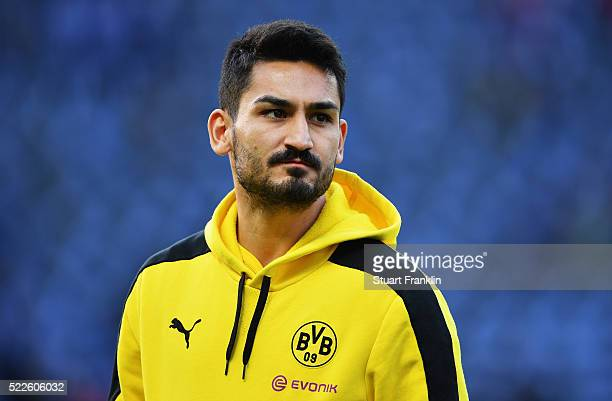 Ilkay Guendogan of Dortmund looks on prior to the DFB Cup semi final match between Hertha BSC Berlin and Borussia Dortmund at Olympia Stadium on...