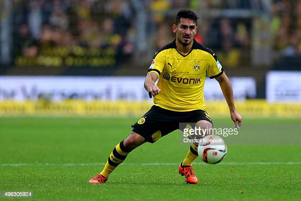 Ilkay Guendogan of Dortmund runs with the ball during the Bundesliga match between Borussia Dortmund and FC Schalke 04 at Signal Iduna Park on...
