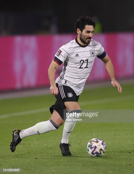 Ilkay Guendogan of Germany controls the ball during the FIFA World Cup 2022 Qatar qualifying match between Germany and North Macedonia at...
