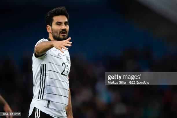 Ilkay Guendogan of Germany gives his team instructions during the 2022 FIFA World Cup Qualifier match between Iceland and Germany at on September 08,...