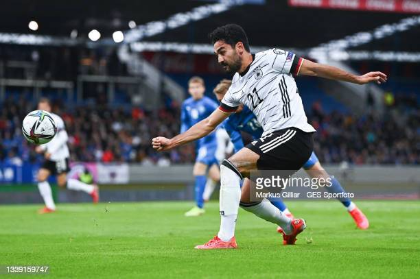 Ilkay Guendogan of Germany passes the ball during the 2022 FIFA World Cup Qualifier match between Iceland and Germany at on September 08, 2021 in...