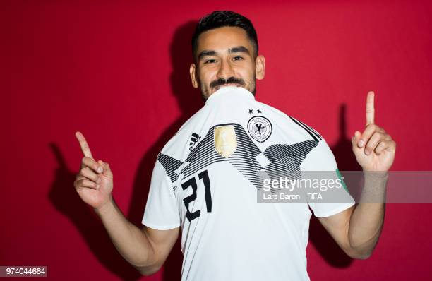 Ilkay Guendogan of Germany poses for a portrait during the official FIFA World Cup 2018 portrait session on June 13 2018 in Moscow Russia