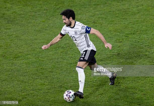 Ilkay Guendogan of Germany runs with the ball during the FIFA World Cup 2022 Qatar qualifying match between Germany and North Macedonia on March 31,...