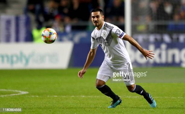 Ilkay Guendogan of Germany runs with the ball during the UEFA Euro 2020 qualifier between Estonia and Germany at ALe Coq Arena on October 13 2019 in...