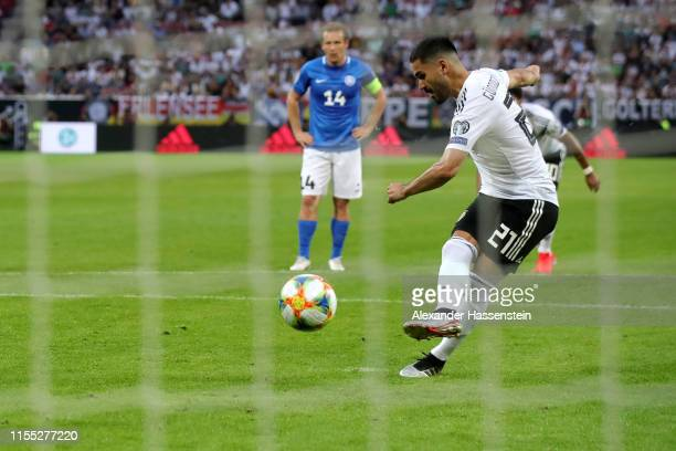 Ilkay Guendogan of Germany scores a penalty as the fourth goal of his team during the UEFA Euro 2020 Qualifier match between Germany and Estonia at...