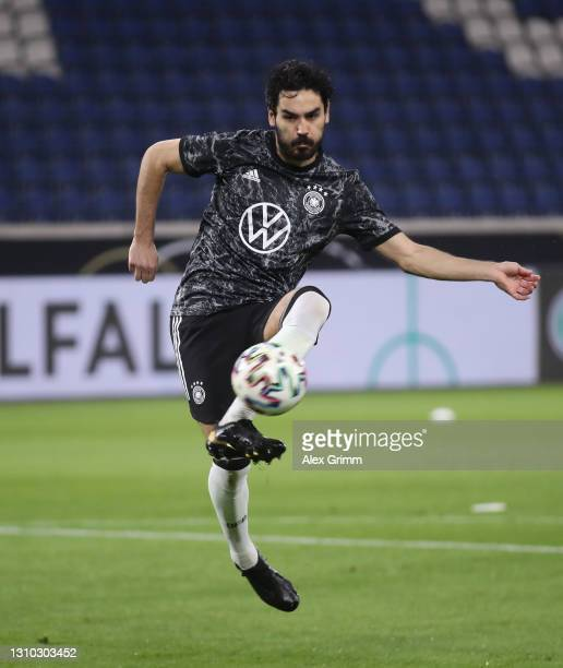 Ilkay Guendogan of Germany warms up for the FIFA World Cup 2022 Qatar qualifying match between Germany and North Macedonia at...