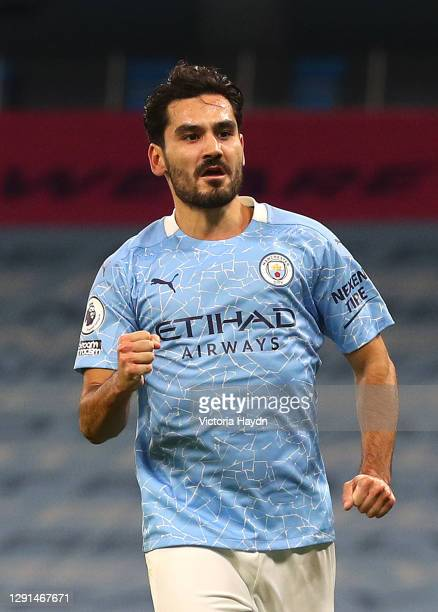 Ilkay Guendogan of Manchester City celebrates after scoring their team's first goal during the Premier League match between Manchester City and West...
