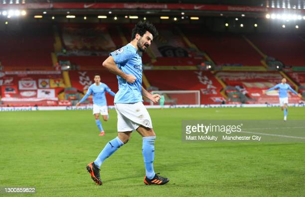 Ilkay Guendogan of Manchester City celebrates after scoring their team's second goal during the Premier League match between Liverpool and Manchester...