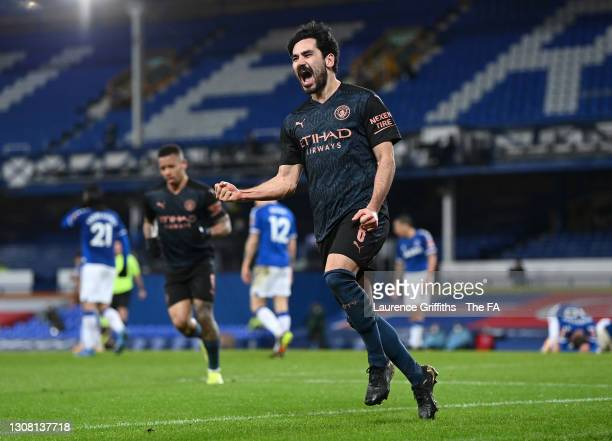 Ilkay Guendogan of Manchester City celebrates after scoring their side's first goal during The Emirates FA Cup Quarter Final match between Everton v...