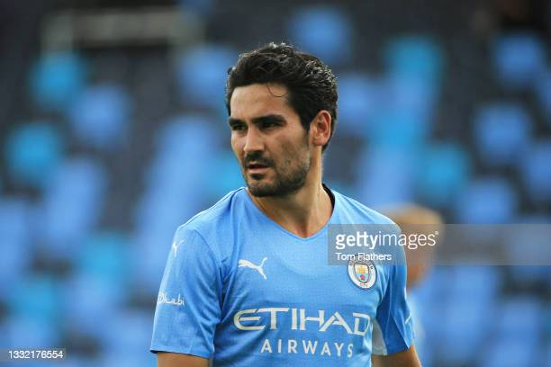 Ilkay Guendogan of Manchester City looks on during the pre-season friendly match between Manchester City and Blackpool at Manchester City Football...