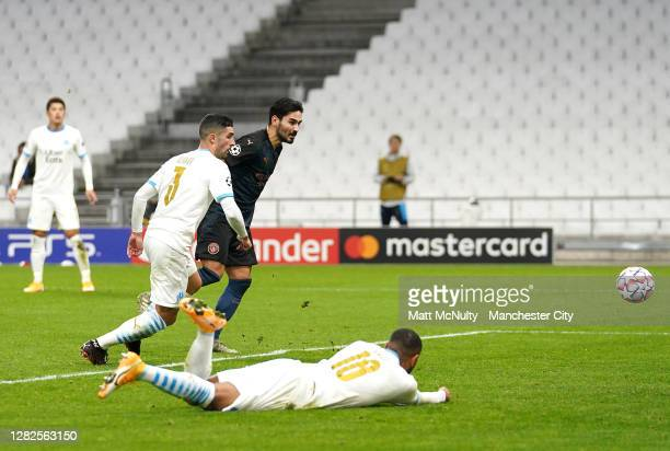 Ilkay Guendogan of Manchester City scores his sides second goal during the UEFA Champions League Group C stage match between Olympique de Marseille...