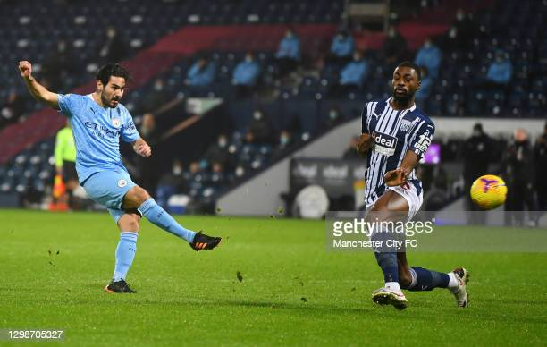 Ilkay Guendogan of Manchester City scores their team's first goal during the Premier League match between West Bromwich Albion and Manchester City at...
