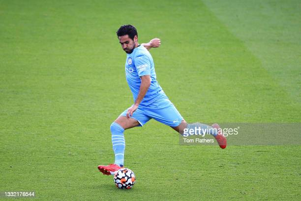 Ilkay Guendogan of Manchester City strikes the ball during the pre-season friendly match between Manchester City and Blackpool at Manchester City...