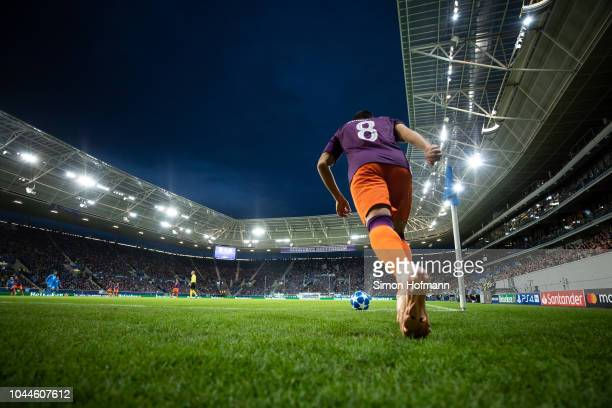 Ilkay Guendogan of Manchester City takes a corner kick during the Group F match of the UEFA Champions League between TSG 1899 Hoffenheim and...