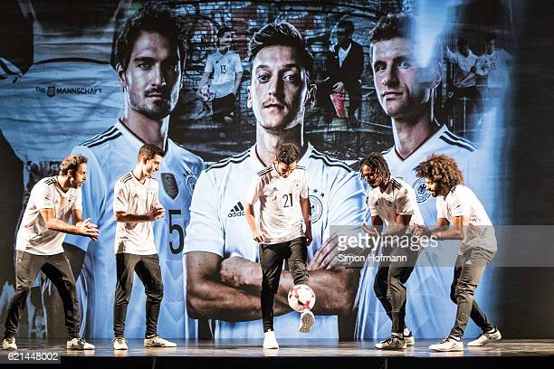 Ilkay Guendogan performs during the ADIDAS presentation of the new DFB home jersey for the FIFA Confederations Cup at Boui Boui Bilk on November 6...