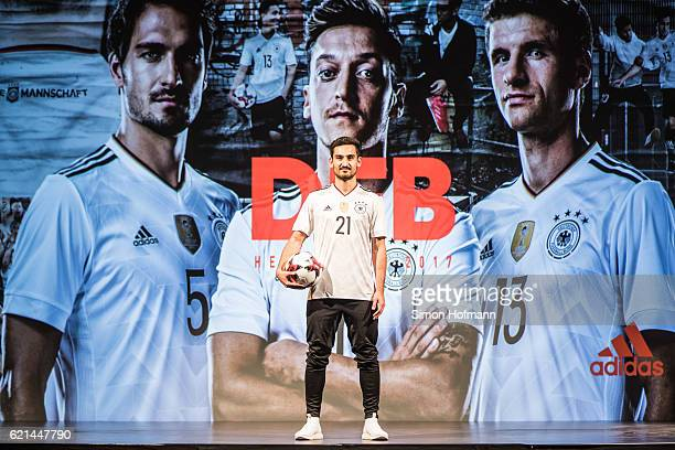 Ilkay Guendogan poses during the ADIDAS presentation of the new DFB home jersey for the FIFA Confederations Cup at Boui Boui Bilk on November 6 2016...