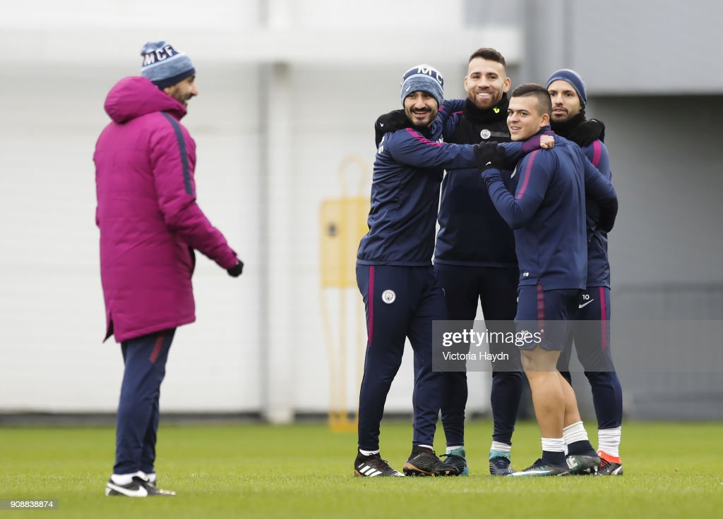 Ilkay Gundogan and teammates during training at Manchester City Football Academy on January 22, 2018 in Manchester, England.