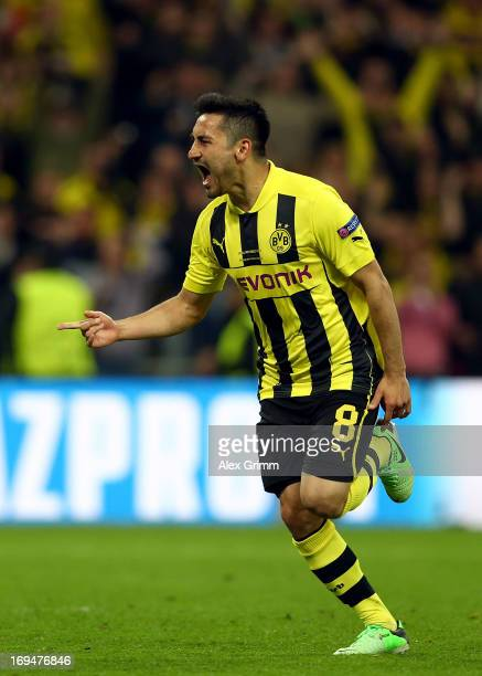 Ilkay Gundogan of Borussia Dortmund celebrates after scoring a goal from the penalty spot during the UEFA Champions League final match between...
