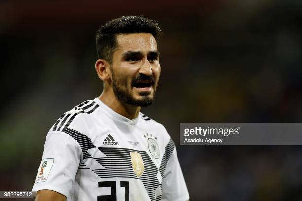 Ilkay Gundogan of Germany gestures during the 2018 FIFA World Cup Russia Group F match between Germany and Sweden at the Fisht Stadium in Sochi...