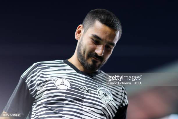 Ilkay Gundogan of Germany looks on prior to the UEFA Nations League Group A match between Germany and France at Allianz Arena on September 6 2018 in...