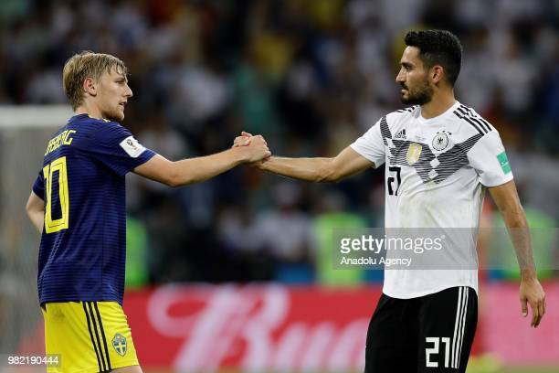 Ilkay Gundogan of Germany shakes hands with his competitor at the end of the 2018 FIFA World Cup Russia Group F match between Germany and Sweden at...