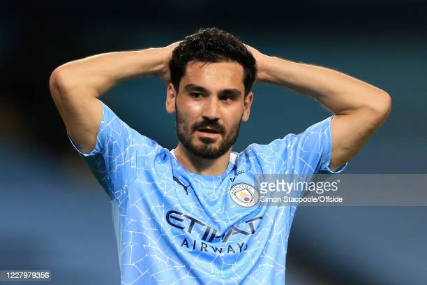Ilkay Gundogan of Man City looks dejected during the UEFA Champions League round of 16 second leg match between Manchester City and Real Madrid at...