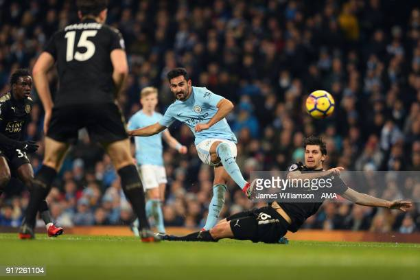 Ilkay Gundogan of Manchester City and Aleksandar Dragovic of Leicester City during the Premier League match between Manchester City and Leicester...