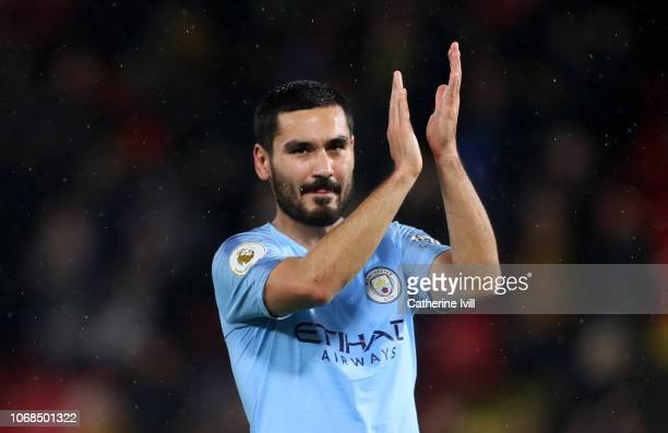 Ilkay Gundogan of Manchester City applauds fans after the Premier League match between Watford FC and Manchester City at Vicarage Road on December 4...