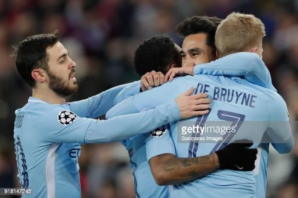 Ilkay Gundogan of Manchester City celebrates 01 with Raheem Sterling of Manchester City Kevin de Bruyne of Manchester City Bernardo Silva of...