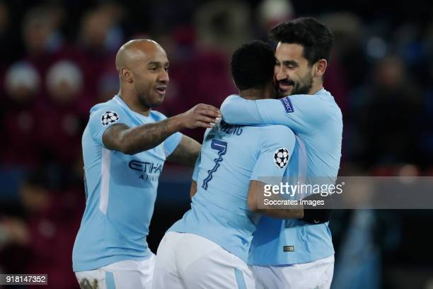 Ilkay Gundogan of Manchester City celebrates 04 Fabian Delph of Manchester City Raheem Sterling of Manchester City during the UEFA Champions League...
