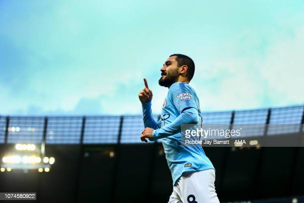 Ilkay Gundogan of Manchester City celebrates after scoring a goal to make it 10 during the Premier League match between Manchester City and Crystal...