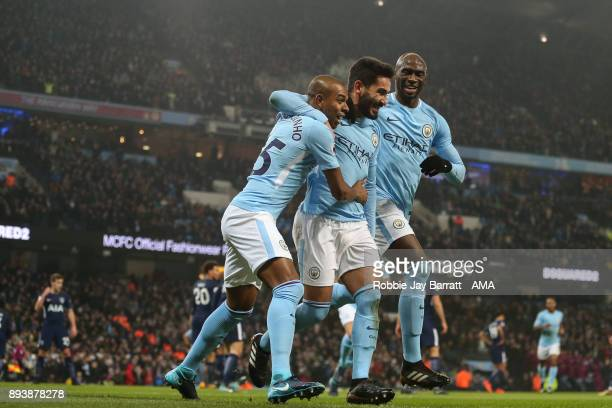 Ilkay Gundogan of Manchester City celebrates after scoring a goal to make it 10 during the Premier League match between Manchester City and Tottenham...