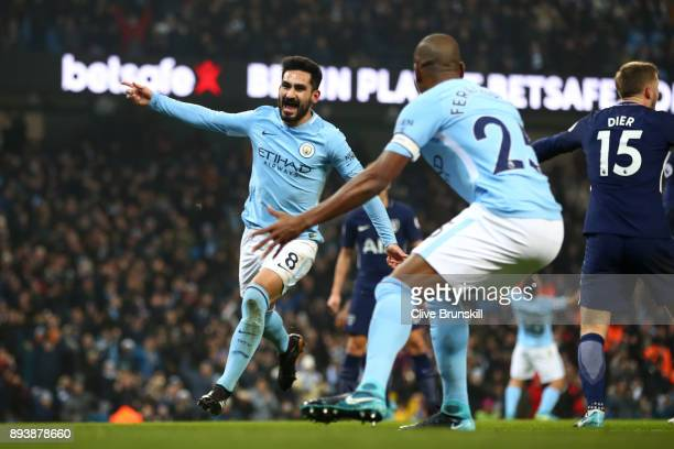 Ilkay Gundogan of Manchester City celebrates after scoring his sides first goal during the Premier League match between Manchester City and Tottenham...