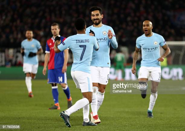 Ilkay Gundogan of Manchester City celebrates after scoring his sides fourth goal with Raheem Sterling of Manchester City during the UEFA Champions...