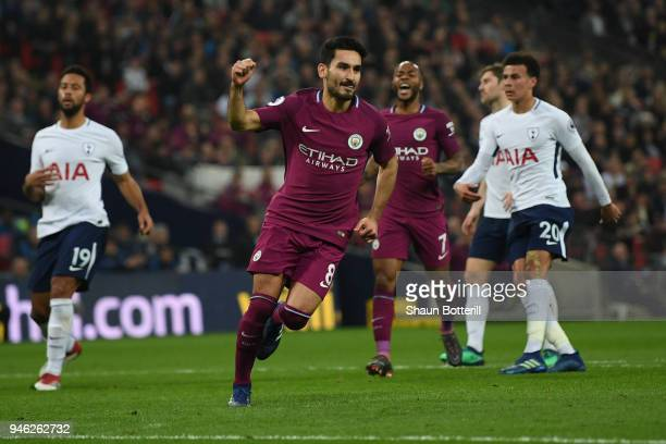 Ilkay Gundogan of Manchester City celebrates after scoring his sides second goal during the Premier League match between Tottenham Hotspur and...