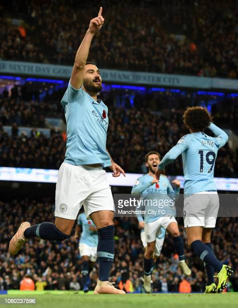 Ilkay Gundogan of Manchester City celebrates after scoring his team's third goal during the Premier League match between Manchester City and...