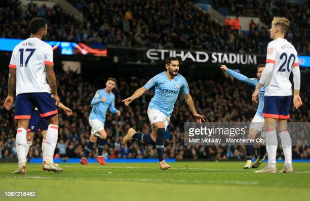 Ilkay Gundogan of Manchester City celebrates after scoring his team's third goal during the Premier League match between Manchester City and AFC...