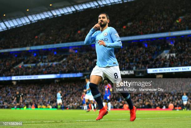 Ilkay Gundogan of Manchester City celebrates after scoring his team's first goal during the Premier League match between Manchester City and Crystal...