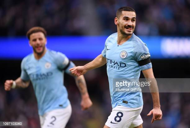Ilkay Gundogan of Manchester City celebrates after scoring his team's fourth goal during the Premier League match between Manchester City and Chelsea...