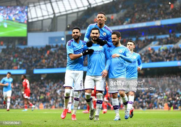 Ilkay Gundogan of Manchester City celebrates after scoring his team's first goal with Gabriel Jesus Riyad Mahrez and Bernardo Silva during the FA Cup...