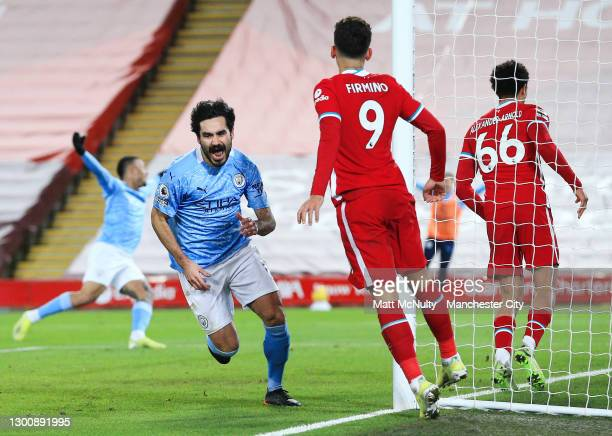 Ilkay Gundogan of Manchester City celebrates after scoring his teams second goal during the Premier League match between Liverpool and Manchester...