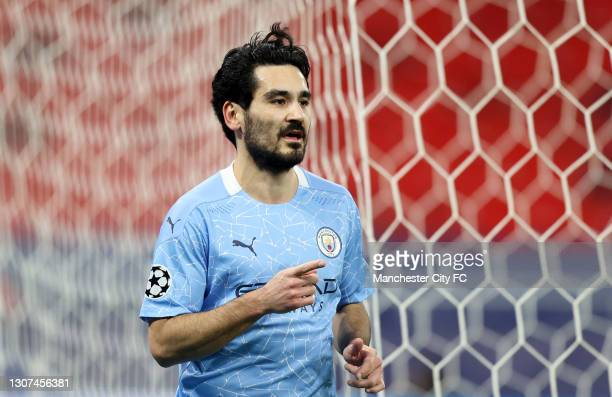 Ilkay Gundogan of Manchester City celebrates after scoring their side's second goal during the UEFA Champions League Round of 16 match between...