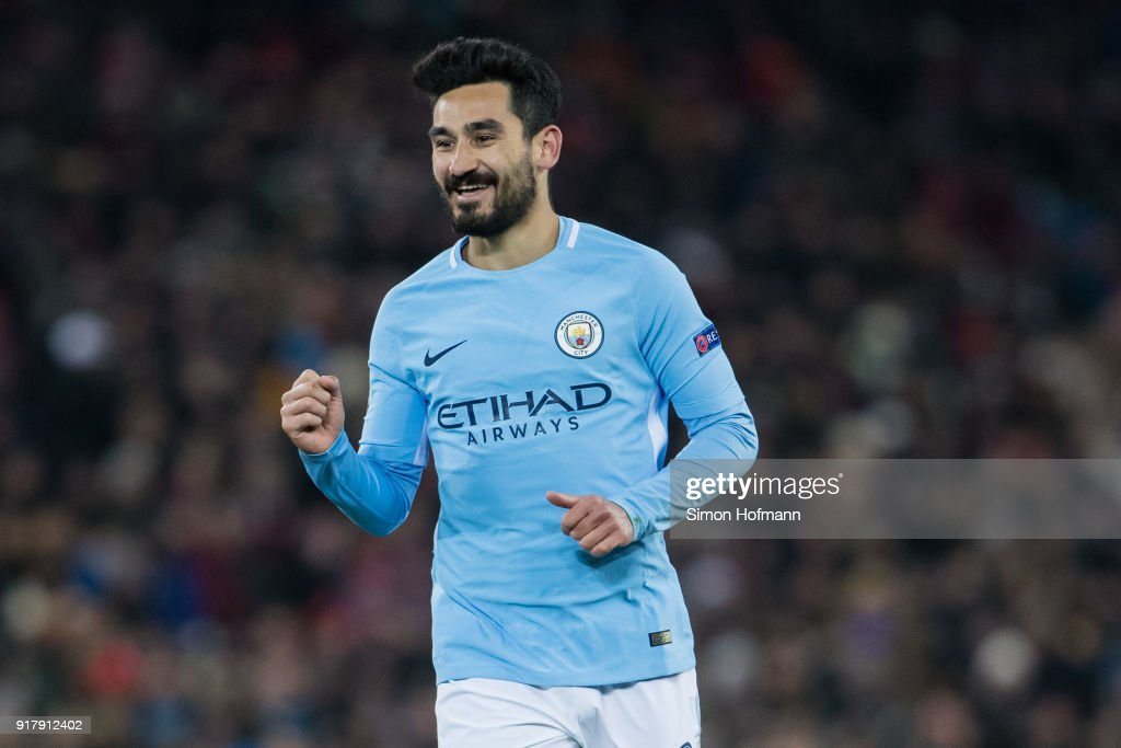 Ilkay Gundogan of Manchester City celebrates his team's fourth goal during the UEFA Champions League Round of 16 First Leg match between FC Basel and Manchester City at St. Jakob-Park on February 13, 2018 in Basel, Switzerland.
